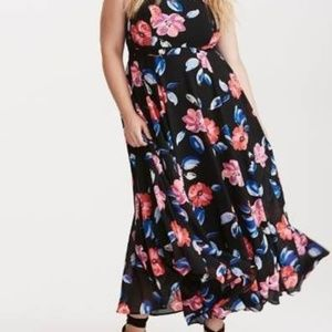 Floral Print Georgette High Neck Maxi Dress